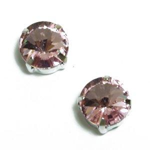 Стрази скляні в металевій оправі. Червоний. Діаметр 10 мм.