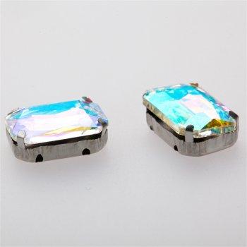 Стразы стеклянные в металлической оправе. Прозрачный. Длина 18 мм, ширина 13 мм.