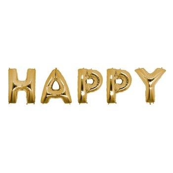 Шарики надувные в виде слова HAPPY 100 см золото