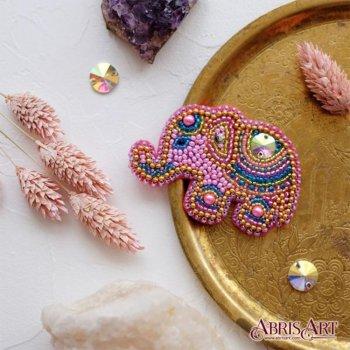 """Набор для вышивки бисером украшения на натуральном художественном холсте """"Розовый слоненок"""""""