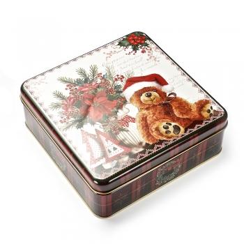 Коробочка жестяная 17х17х6 см новогодний мишка