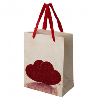 Пакет картонный 23х18х10 см Сердца
