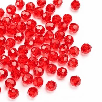 Хрустальная бусина круглая 10 мм красная прозрачная