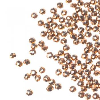 Кришталева намистина рондель 6 мм золотиста металік