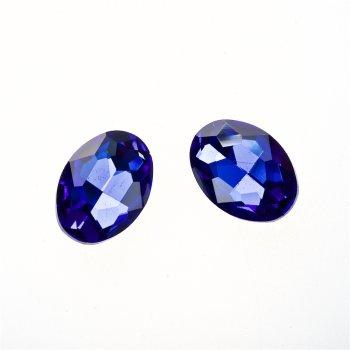 Стрази скляні вставні. Синій. Довжина 18 мм, ширина 13 мм.
