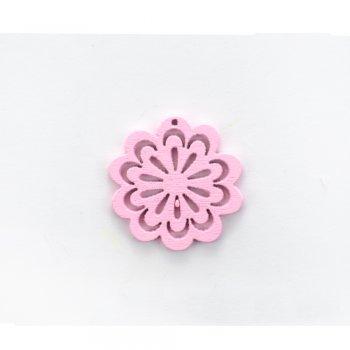 Дерев'яна підвіска Квітка ажурна Рожева