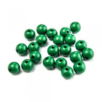 Пластик одноколірний. Бусина кругла зелена 10 мм.