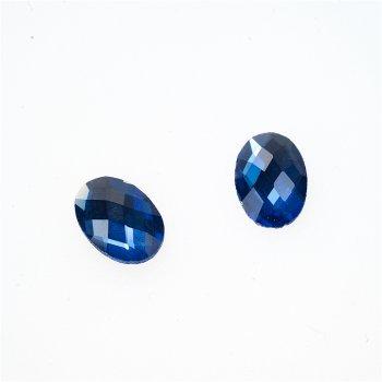 Стразы стеклянные клеевые. Синий. Длина 14 мм, ширина 10 мм.