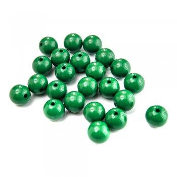 Пластик одноцветный. Бусина круглая зелёная  14 мм.