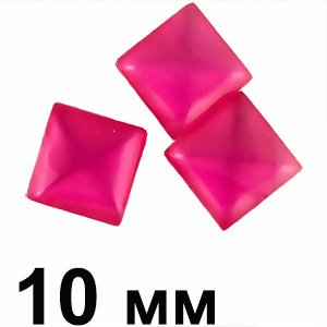Пластикові кабошони рожевий опуклий квадрат 10 мм