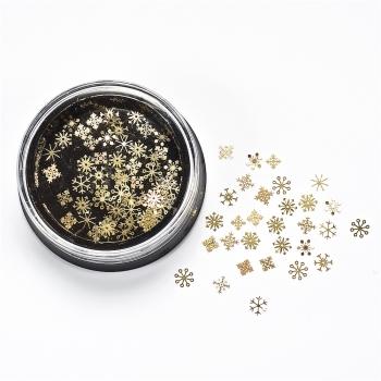 Металлические блестки (в уп90шт) Снежинки золотые