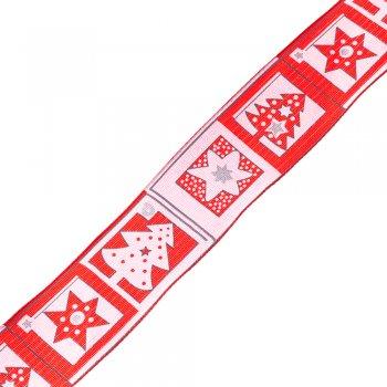 Лента полиэстеровая с узором 40 мм красный