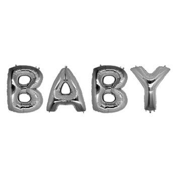 Кульки надувні у вигляді слова BABY 40 см срібло