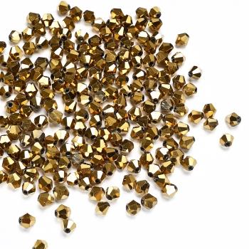 Хрустальная бусина биконус 6 мм золотистая металлик