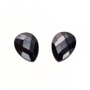 Стрази скляні клейові. Чорний. Довжина 18 мм, ширина 13 мм.