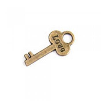 Ключ з написом LOVE, металева лита підвіска, бронза, 20х15 мм