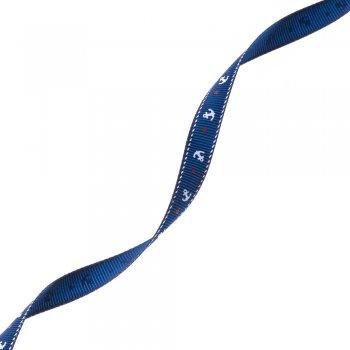 Лента репсовая 10 мм синяя с якорями