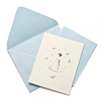 Открытка с конвертом Девочка с бабочками
