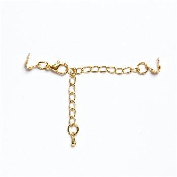 Карабін з зажимами для волосіні з подовжує ланцюжком, золото, 10 см