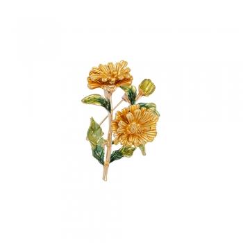 Брошка цветок золотой