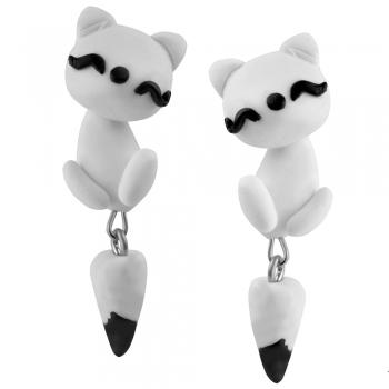 Серьги (пара) Котик белый