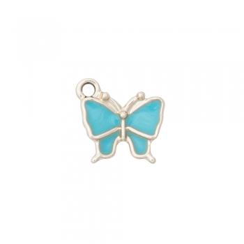 Металева підвіска з емаллю Метелик бірюзовий