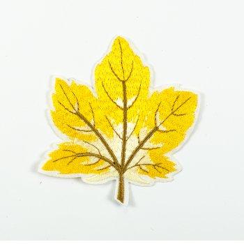 Тканевая нашивка Осенний лист желтый