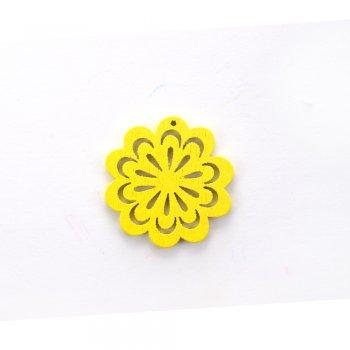 Деревянная подвеска Цветок ажурный Желтый