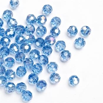 Хрустальная бусина круглая 8 мм  светло-синяя