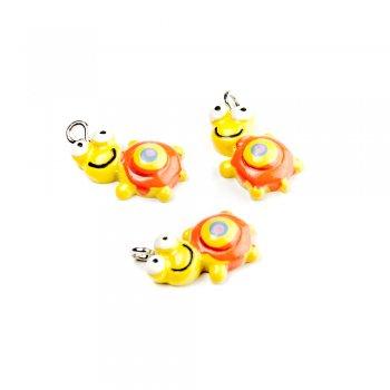 Черепаха желтая. Подвески из полимерной глины зверюшки