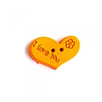 Пуговица деревянная Сердце оранжевая 14х 21 мм