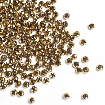 Кришталева намистина рондель 4 мм золотиста металік