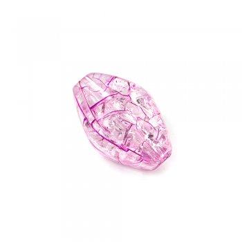 Пластик с кракелюром. Розовый. Бусина овальная гранённая .