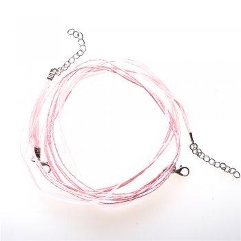Основа для кулона Четыре хлопковых шнура и лента из органзы, розовая