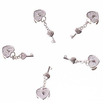 Металева намистина шарм LUX з підвіскою ключ
