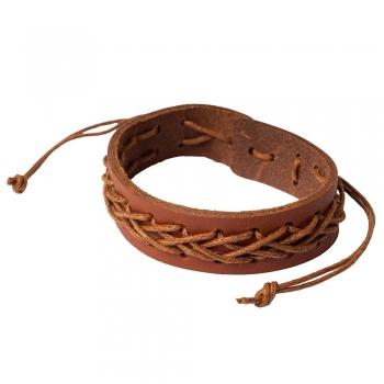 Плетений браслет з пресованої шкіри коричневий