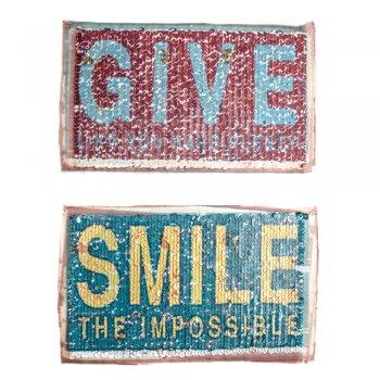 Тканинна нашивка з реверсивними паєтками Give Smile