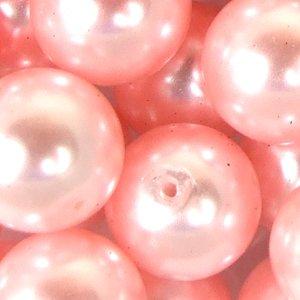 Перли скляні гладкі рожеві 12 мм