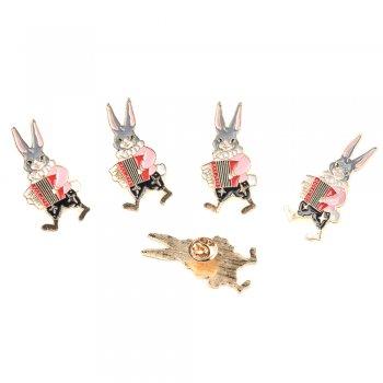 "Брошка металева  ""Кролик з акордеоном"""