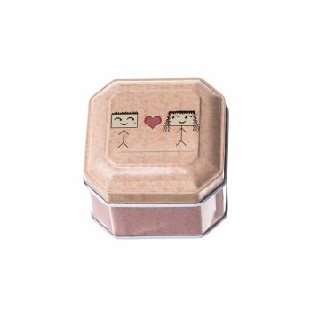Коробочка бляшана 6,5х6,5х4,5 см беж малюнок