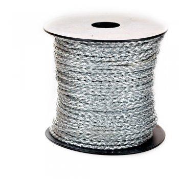 Шнур-косичка светло-серый металлик кожзаменитель 3 мм