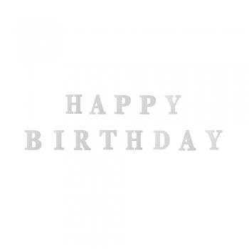 Гирлянда блестящая Happy Birthday серебристая