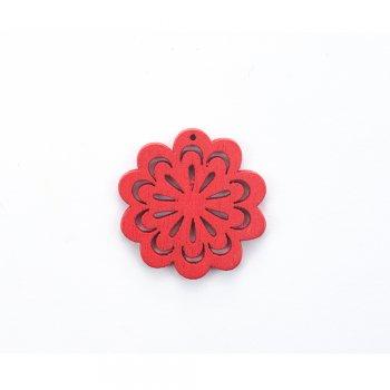 Дерев'яна підвіска Квітка ажурна Червона
