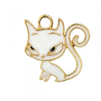 Металлическая подвеска с эмалью Белая кошка