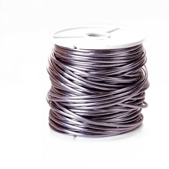 Шнур сиренево-серый глянцевый кожзам 1,5 мм