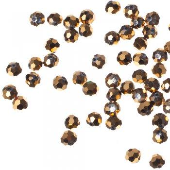 Бусина круглая, золотистая металлик, хрусталь, 8 мм