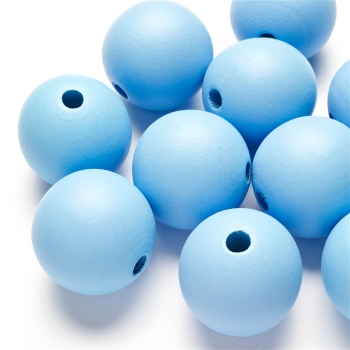 Дерев'яна намистина 30 мм блакитна