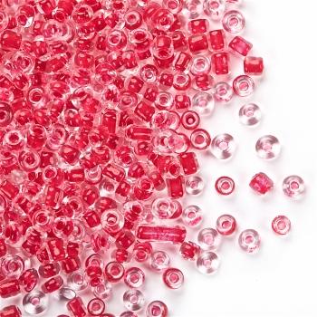 Бисер круглый, мелкий, прозрачный с красной серединкой. Калибр 12 (1,8 мм)