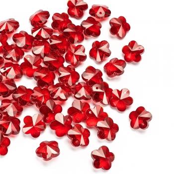Хрустальная подвеска цветок 14 мм красная прозрачная