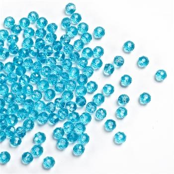 Хрустальная бусина рондель 6 мм синяя прозрачная